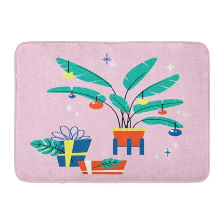 GODPOK Cartoon Pink Tropical Christmas Cute Winter Holiday with Decorated Palm Tree Box Celebration Rug Doormat Bath Mat 23.6x15.7 inch](Decorate Classroom Door For Christmas)