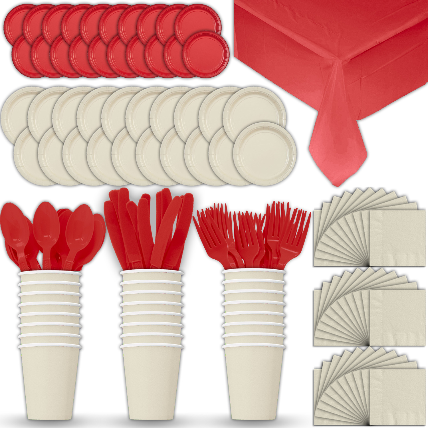 Paper Tableware Set for 24 - Cream & Red - Dinner and Dessert Plates, Cups, Napkins, Cutlery (Spoons, Forks, Knives), and Tablecloths - Full Two-Tone Party Supplies Pack