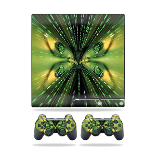 Skin Decal for Sony Playstation 3 PS3 Slim + 2 controllers sticker Matrix
