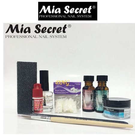 MIA SECRET - Clear ACRYLIC NAIL System STARTER KIT MONOMER CLEAR ACRYLIC POWDER XTRA BOND GLUE NAIL BRUSH TOP COAT