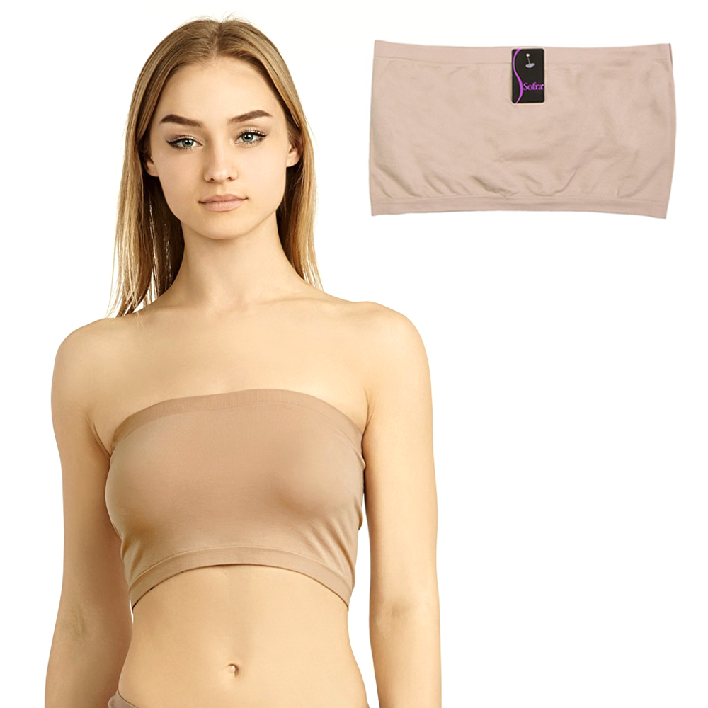 REG OR PLUS Seamless Spandex Cropped Tube Top Strapless Layering Tank ONE SIZE