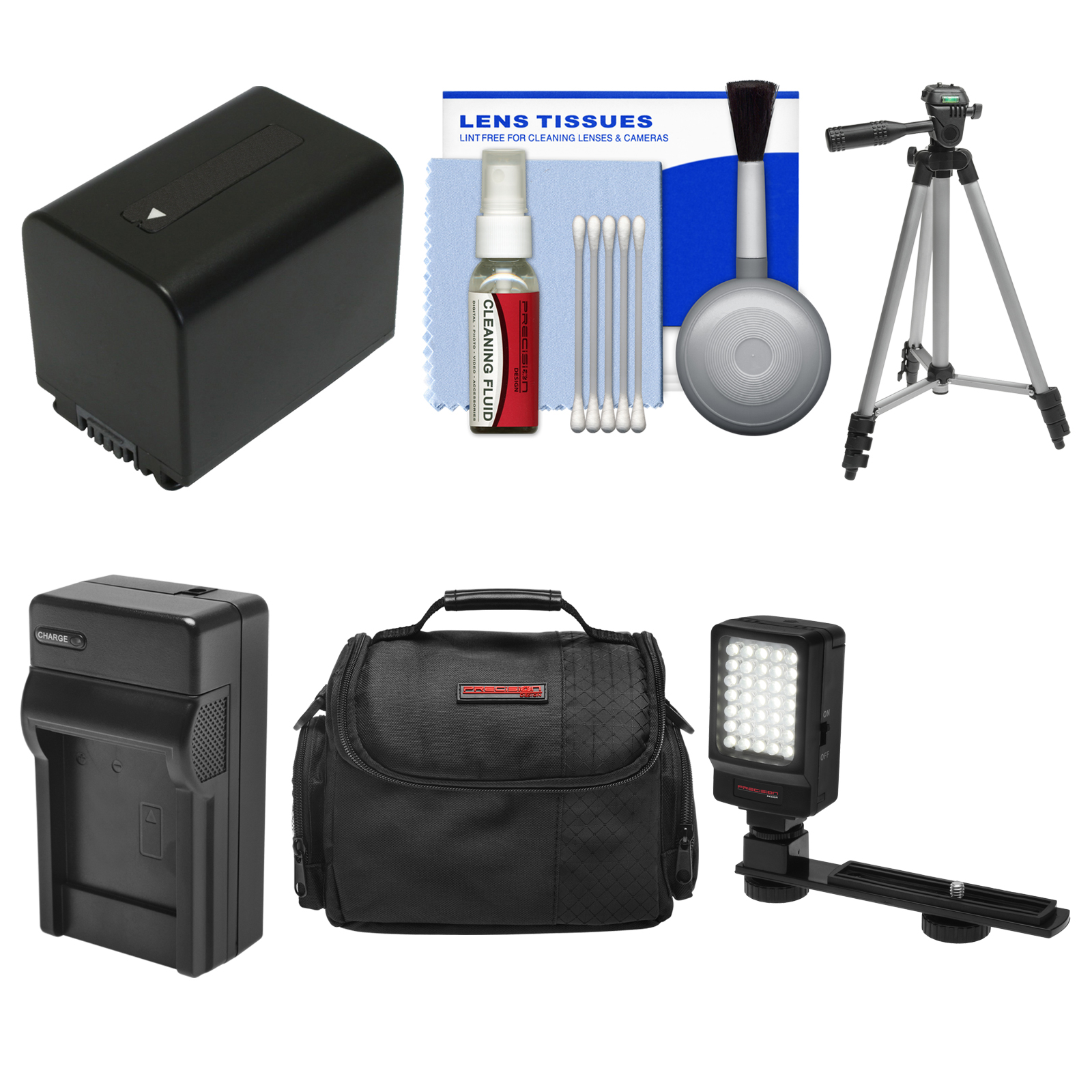 Essentials Bundle for Sony Handycam HDR-CX450, CX455, PJ670, PJ810, AX33, AX100 Camcorders with Case + LED Light + NP-FV70 Battery & Charger + Tripod Kit