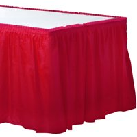 """Amscan 77025.40 Apple Red Solid Color Plastic Table Skirt 14' x 29"""","""