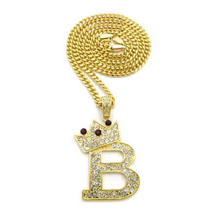 Stone Stud Tilted Crown Initial B Pendant w/ Gold-Tone Necklace - 3mm 24
