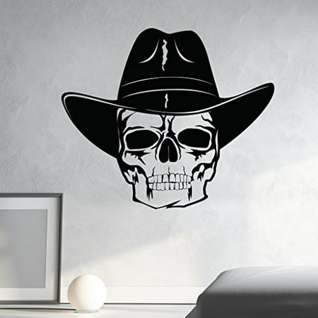 Skull with Cowboy Hat Wall Decal - Wall Sticker, Vinyl Wall Art, Home Decor, Wall Mural - SA3064-16in x 14in-Beige](Cowboy Wall Decor)