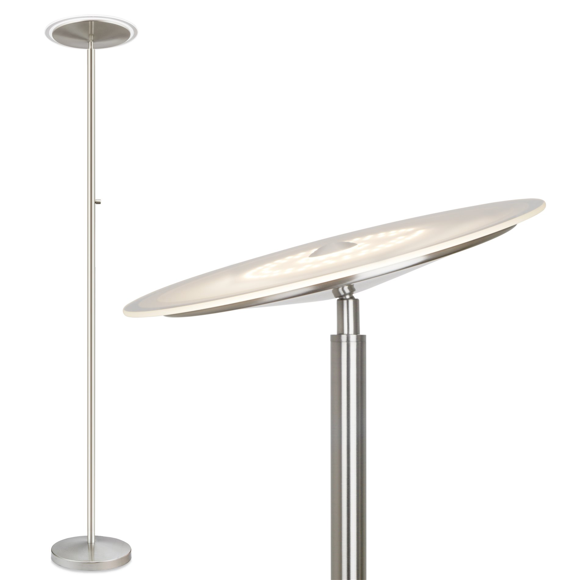 Silver 57in 700 Lumens Adjustable LED Floor Lamp w// Remote Control 8 Levels