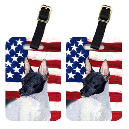 Carolines Treasures SS4054BT Pair Of USA American Flag With Rat Terrier Luggage Tags - image 1 of 1
