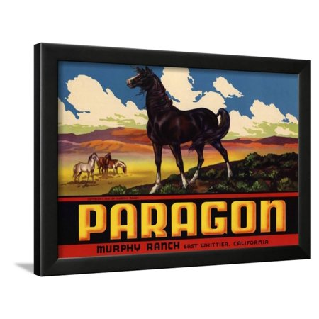 - Paragon Brand - Whittier, California - Citrus Crate Label Framed Print Wall Art By Lantern Press