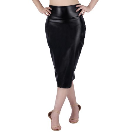 66648b43fc HDE - HDE Women's Shiny Metallic Faux Leather Below Knee Midi Bodycon Pencil  Skirt (Black, Large) - Walmart.com