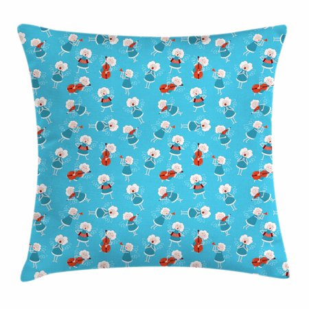 Angel Throw Pillow Cushion Cover, Music Angels Playing Violin Flute Kazoo Saxophone Trumpet Elf Harp Cello Fantasy, Decorative Square Accent Pillow Case, 18 X 18 Inches, Blue Red White, by (Angel Playing Harp)