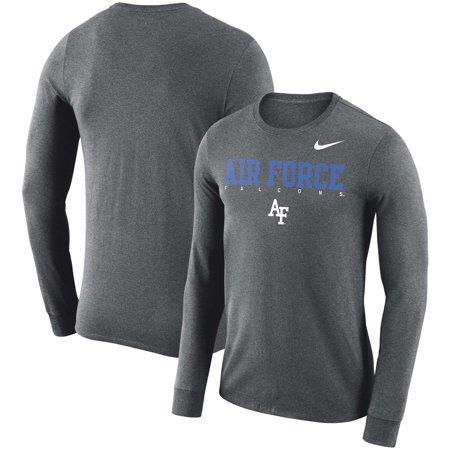 Air Force Falcons Nike 2018 Facility Dri-FIT Cotton Long Sleeve T-Shirt - Charcoal