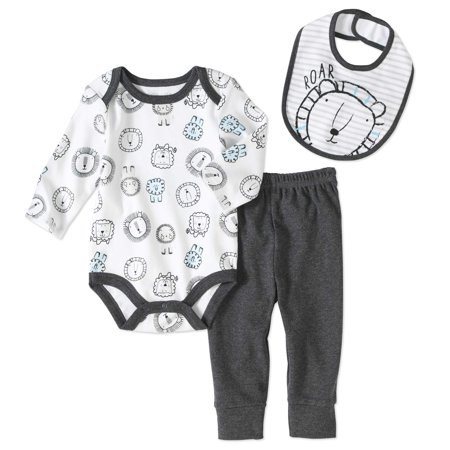 Rene Rofe Newborn Baby Boy Bodysuit  Bib And Turn Me Round Pant 3Pc Set