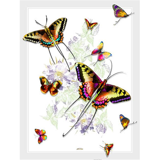 Lama Kasso 406-T Rainbow Colored Butterflies on a White Background 48 in. x63 in. Satin Throw