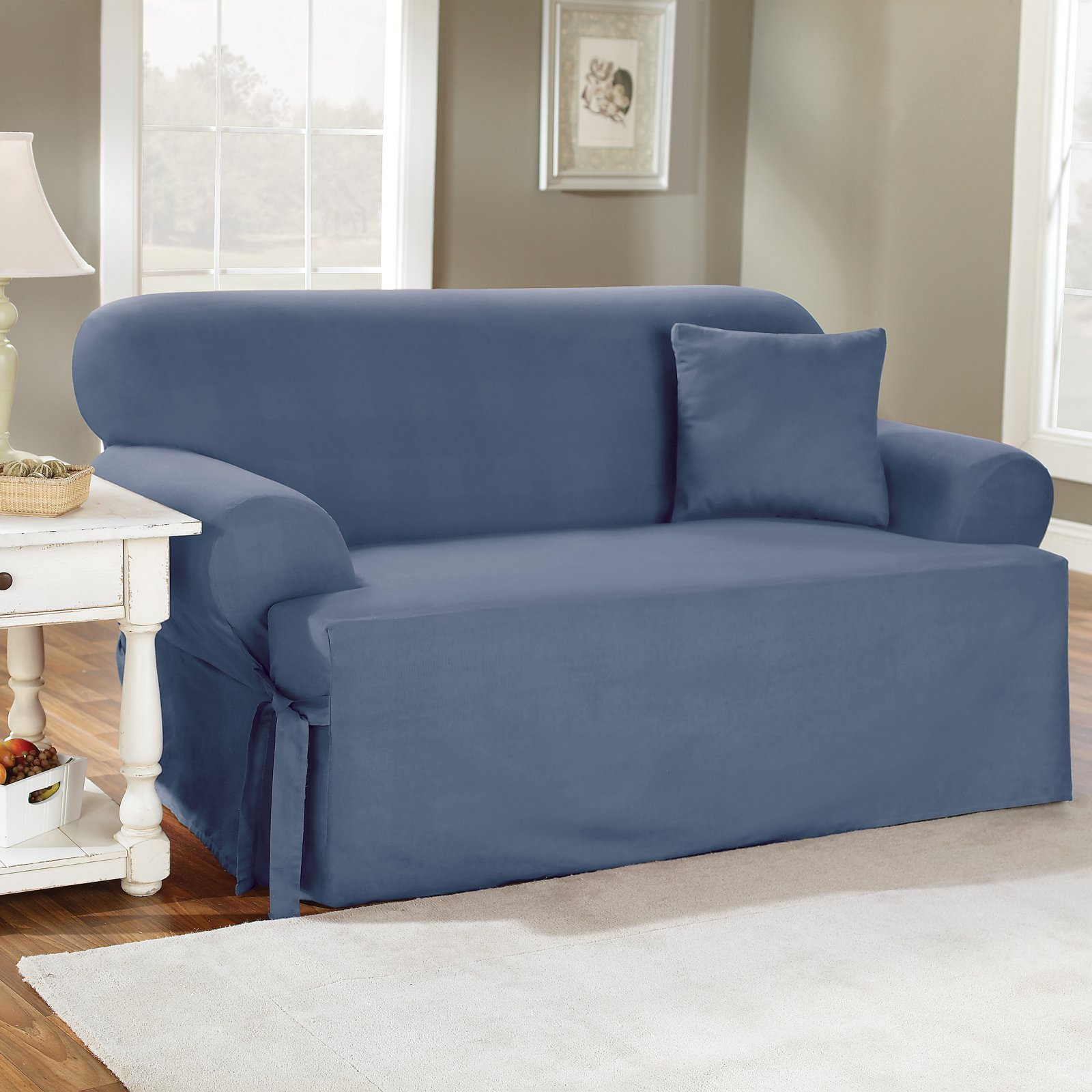 Sure Fit Cotton Duck T Cushion Sofa Slipcover Walmart