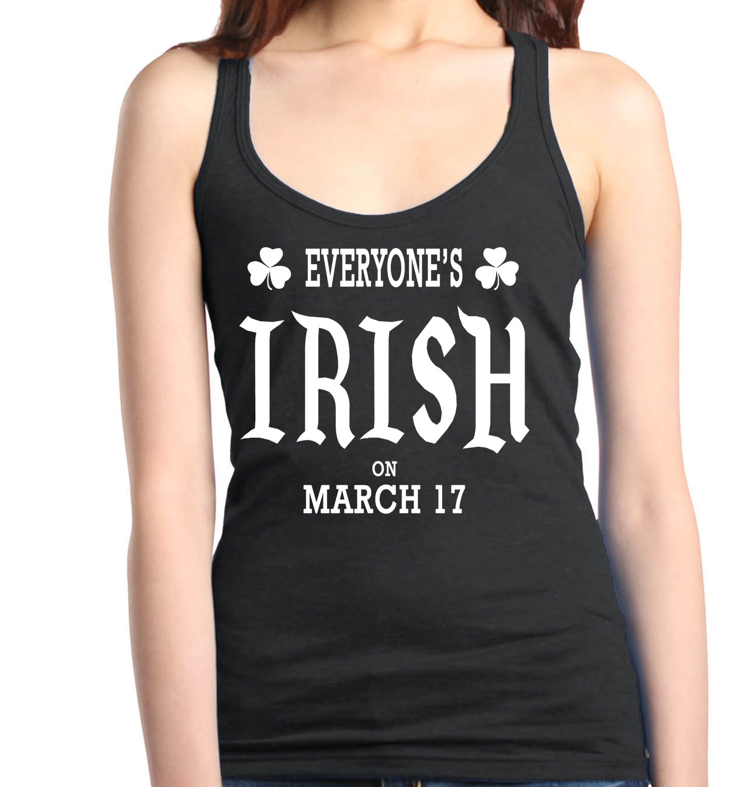 Shop4Ever Women's Everyone's Irish March 17th St. Patrick's Day Racerback Tank Top