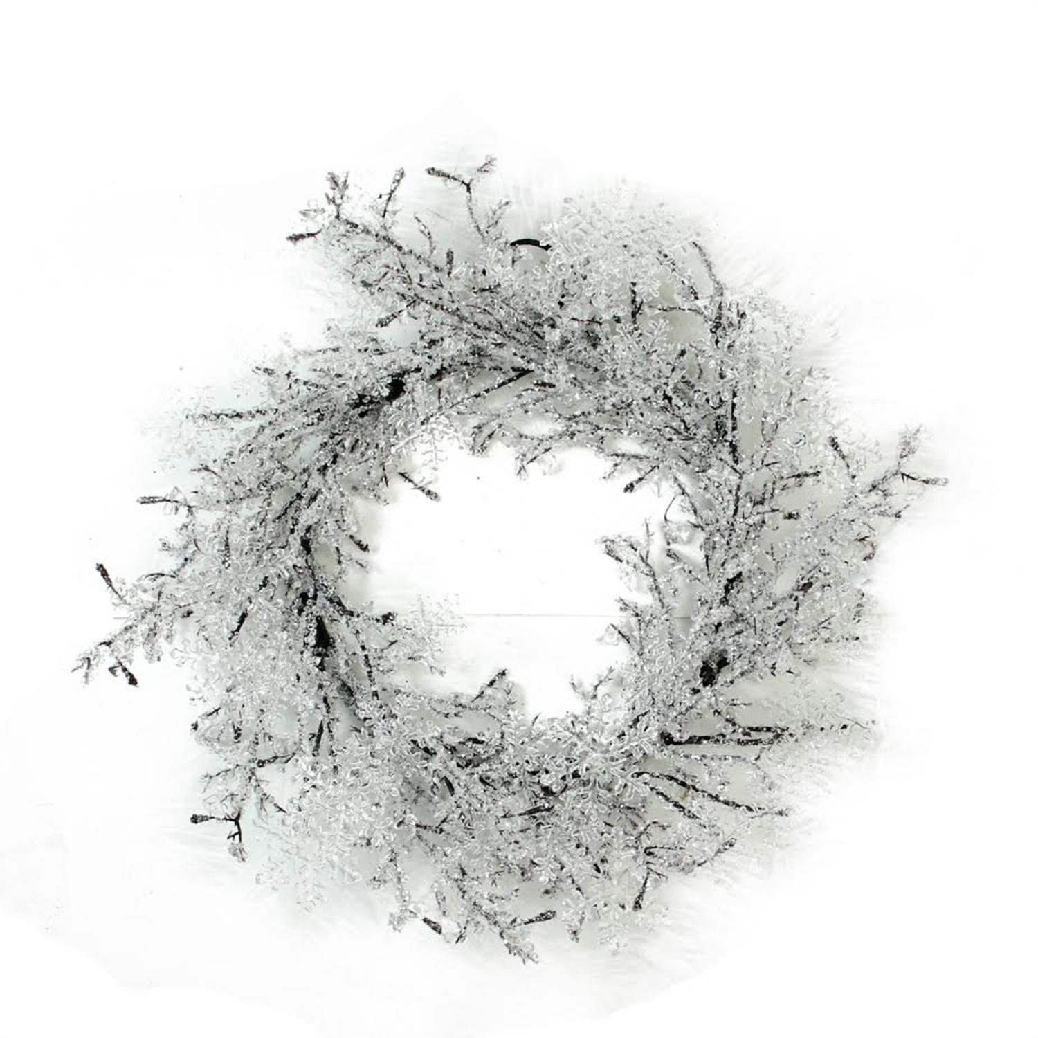 """22"""" Clear Ice and Snowflakes on Black Twigs Christmas Wreath - Unlit - image 2 of 2"""