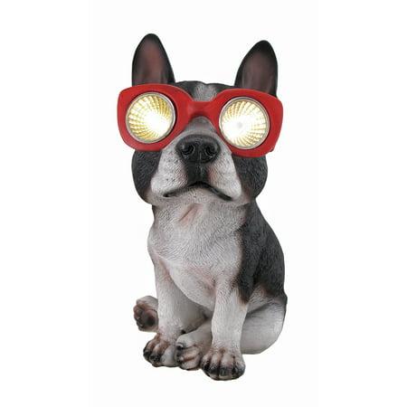 Zeckos Boston Terrier Solar Eyes LED Accent Light Statue ()