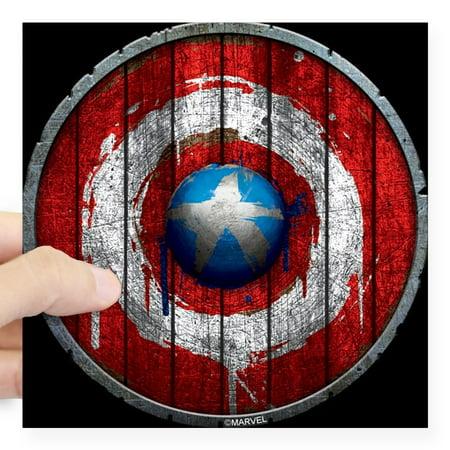 Cafepress Captain America Anniversary Wooden Shield Sticker Square Sticker 3 X 3