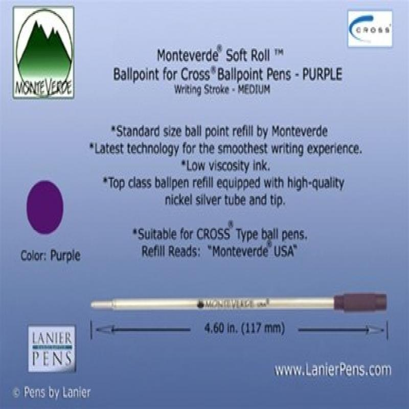 Monteverde Ballpoint Refill to Fit Cross Ballpoint Pens, Medium Point, Soft Roll