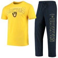 Milwaukee Brewers Concepts Sport Topic T-Shirt & Pants Sleep Set - Heathered Gold/Navy