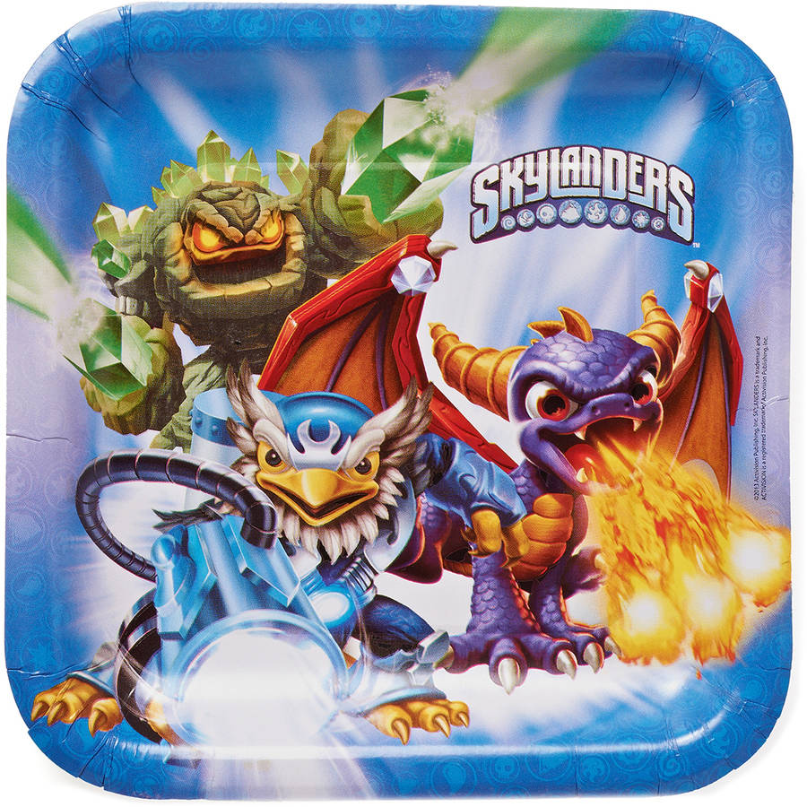 "Skylanders 9"" Square Plate, 8 Count, Party Supplies 9SQPLT-96501"