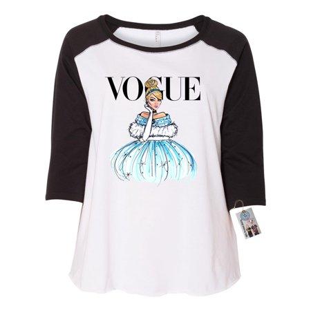 Vogue Princess Shirt Cinderella Plus Size Womens Raglan Shirt (Plus Size Cinderella)