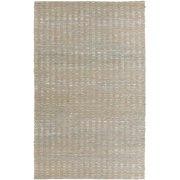 3.25' x 5.25' Pleasantly Striped Steel Blue and Ivory Hand Woven Jute Area Rug