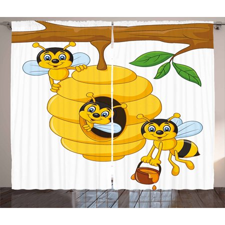 Nursery Curtains 2 Panels Set, Branch of Tree with Beehive and Bees Honey Funny Insect Hardworking Mascot, Window Drapes for Living Room Bedroom, 108W X 63L Inches, Yellow Brown Green, by Ambesonne Honey Bee Baby Nursery