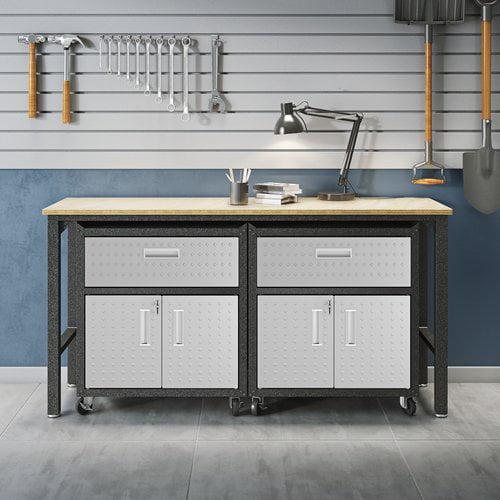 Manhattan Comfort 3-Piece Fortress Mobile Space-Saving Steel 4.0 Garage Cabinet
