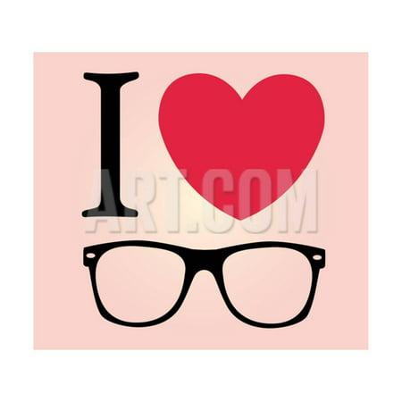 Print I Love Sunglasses Vector Illustration Print Wall Art By (Sunglasses Wall Art)