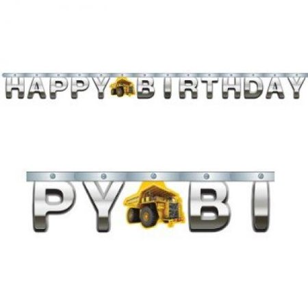 Construction Zone Happy Birthday Jointed Foil Letter Banner ()