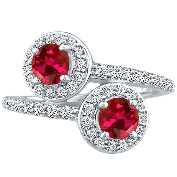 Round Halo cr Ruby & Diamond Forever Wedding Ladies Ring 10k WG 1.92 tcw