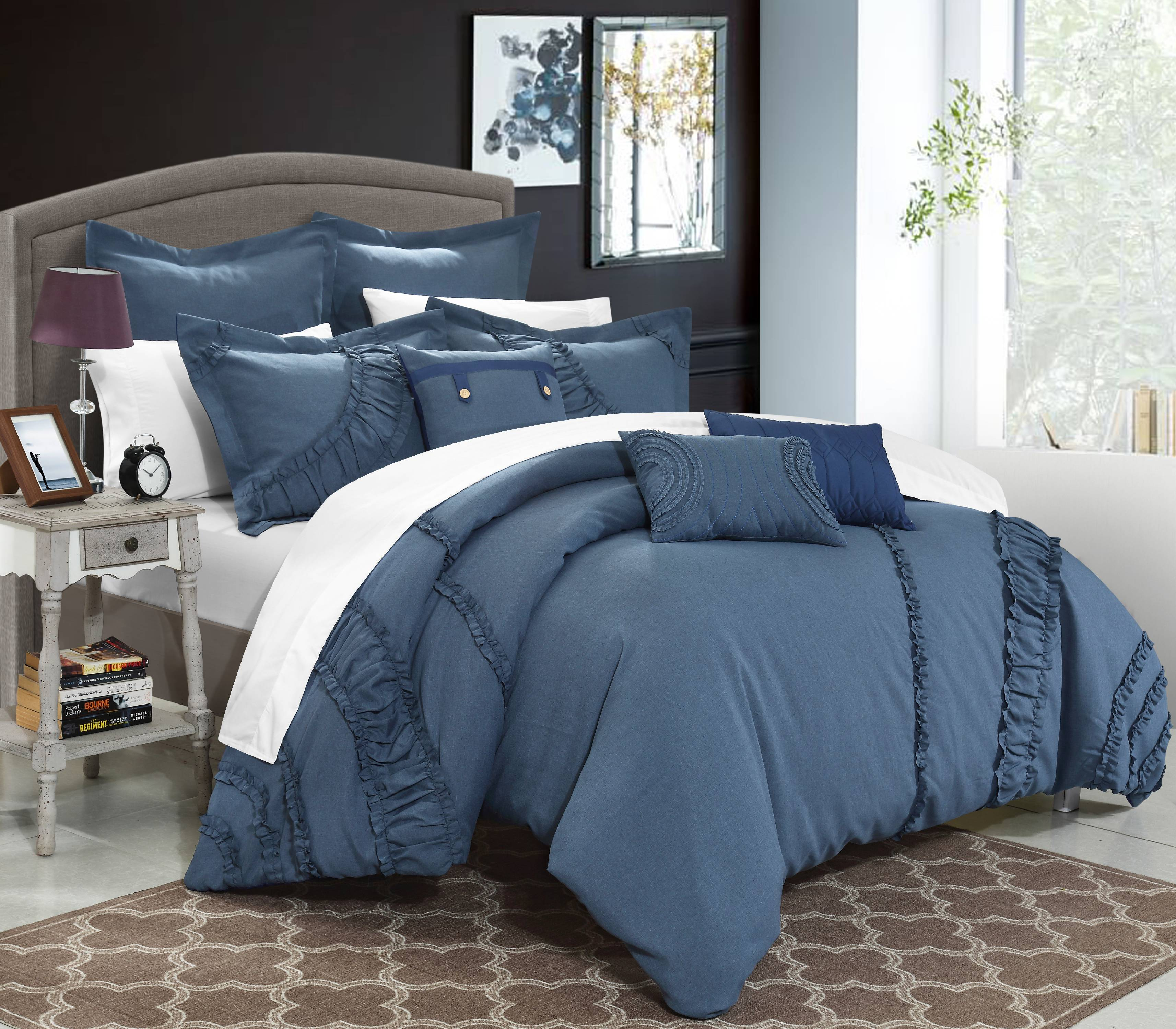 Chic Home 8 Piece Dearly NEW FAUX LINEN FABRIC COLLECTION OVERSIZED AND  OVERFILLED Embroidered GEOMETRIC