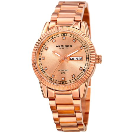 Women's Quartz Diamond Date Stainless Steel Rose-Tone Bracelet Watch with FREE Bangle