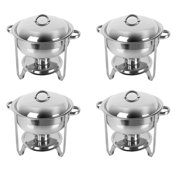 Ktaxon 4Pcs 5 Quart Full Size Stainless Steel Chafing Dish with Water Pan and Chafing Fuel Holder,Complete Chafer Set