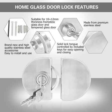 Sonew Stainless Steel 10~12mm Glass Door Lock with Keys Open/Close Home Hotel Bathroom Use,Glass Door Lock, Home Glass Door Lock - image 7 of 10