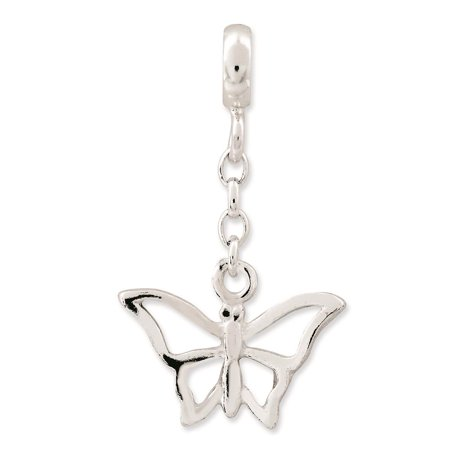 """925 Sterling Silver Polished Butterfly 1/2"""" Dangle Enhancer Charm 21mm x 12mm"""