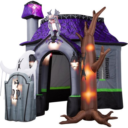 airblown halloween inflatable haunted house with dead tree rising ghost and light show 9