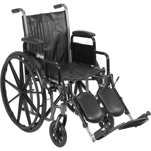 """Drive Medical Silver Sport 2 Wheelchair, Detachable Desk Arms, Elevating Leg Rests, 16"""" Seat"""