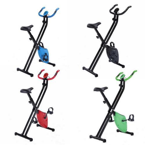 Confidence Fitness Folding Stationary Upright Exercise X Bike Blue