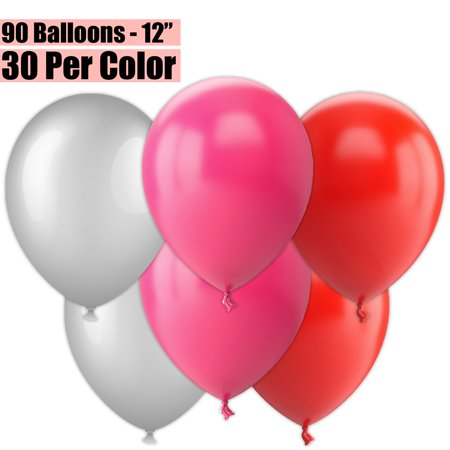 12 Inch Party Balloons, 90 Count - Metallic Silver + Fuchsia + Red - 30 Per Color. Helium Quality Bulk Latex Balloons In 3 Assorted Colors - For Birthdays, Holidays, Celebrations, and More!!](Cheap Bulk Balloons)