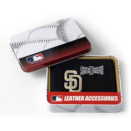MLB Mens San Diego Padres Embroidered Trifold Wallet by