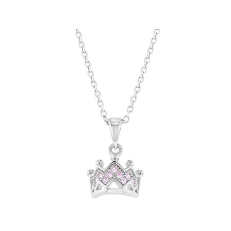925 Sterling Silver Princess Crown Necklace Pendant Girls Kids Toddlers CZ 16