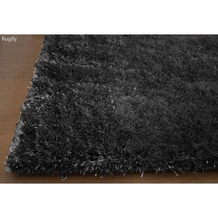 8'x10' Feet Gray Grey Charcoal Soft Solid Shiny Shag Shaggy Modern Contemporary Fuzzy Furry Chunky Living Room Bedroom Aroma Gray SALE Decorative Designer Polyester Canvas Backing