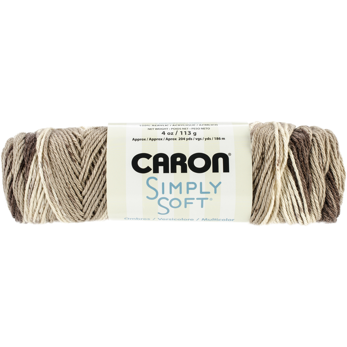Spinrite Simply Soft Ombres Yarn, Cafe Latte Brown Multi-Colored
