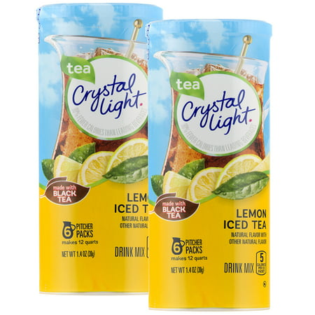 (12 Pack) Crystal Light Lemon Iced Tea Drink Mix, 6 count Canister (Halloween Drink Recipes With Dry Ice)