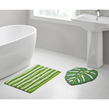 VCNY Home Green Leaf 2-Piece Cotton Bath Rug Set, Green Leaves Bath Rug