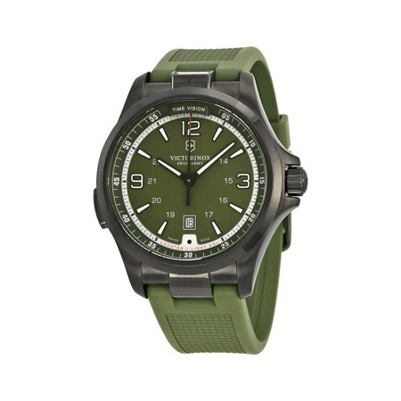 Victorinox Swiss Army Night Vision Green Rubber Mens Watch LED Light (Victorinox Night Vision)