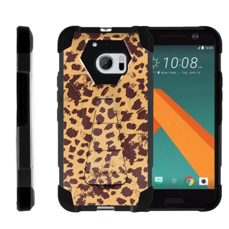 HTC One M10 Shock Fusion Heavy Duty Dual Layer Kickstand Case -  Cheetah Pattern