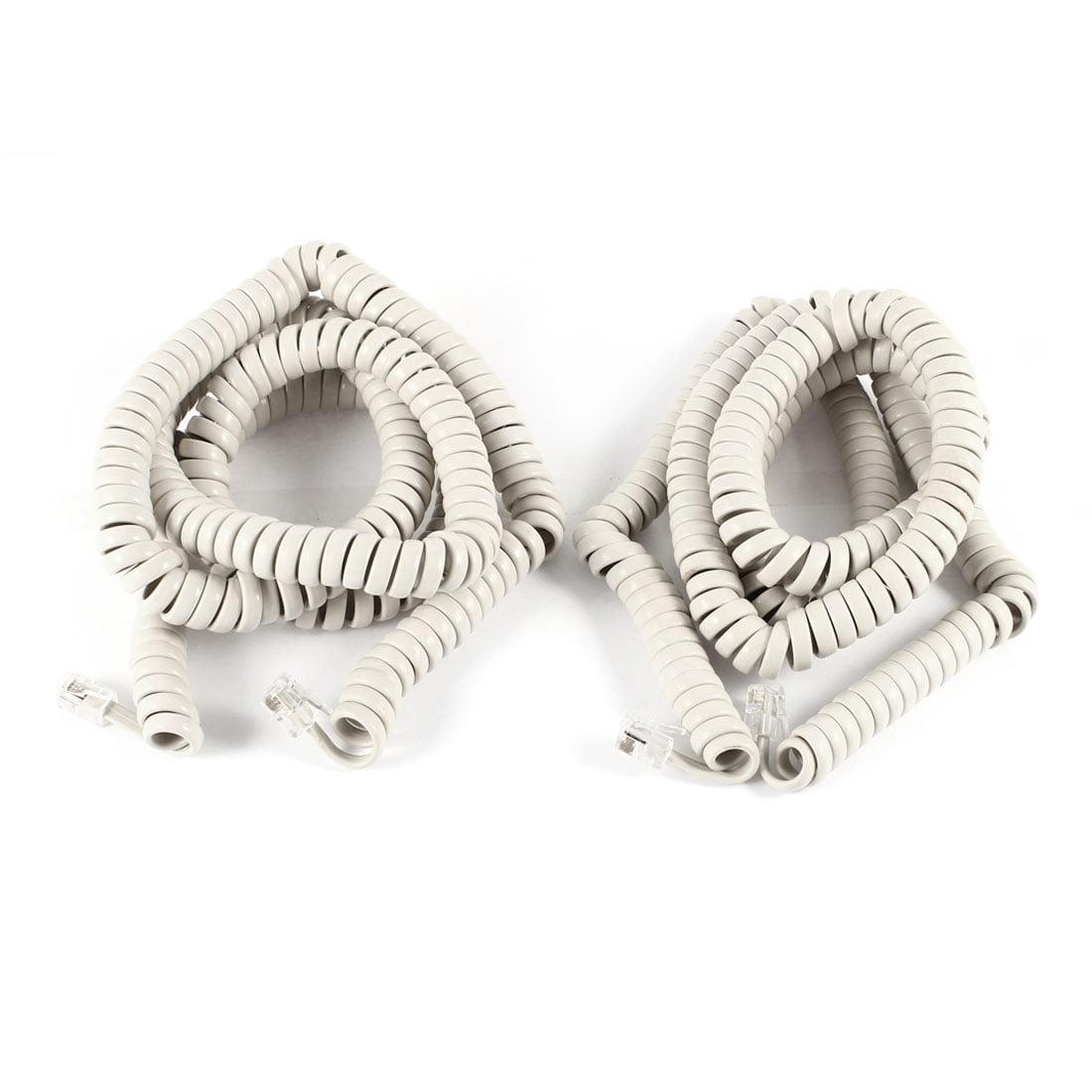 2pcs Beige RJ9 4P4C Connectors Stretchy Coiled Telephone Cable 7m 23ft - image 2 de 2